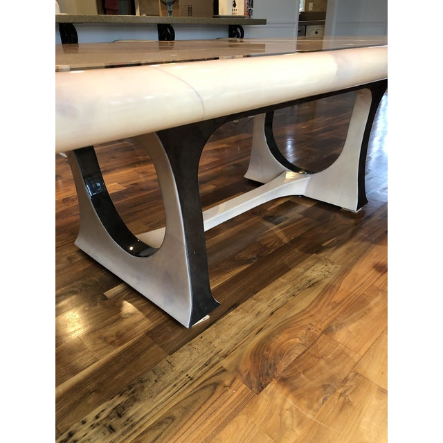 Tan 1970s Modern Enrique Garcel Lacquered Goatskin Dining Table For Sale - Image 8 of 9
