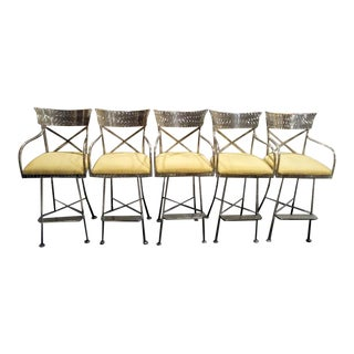 1990s Polished Chrome Roomy X Back Swivel Upholstered Bar Height Stools Chairs - Set of 5 For Sale