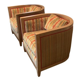 Custom Made Cerused Tub Chairs For Sale