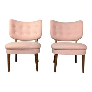 "1940s Swedish ""Emma"" Chair in Pink Felted Wool For Sale"