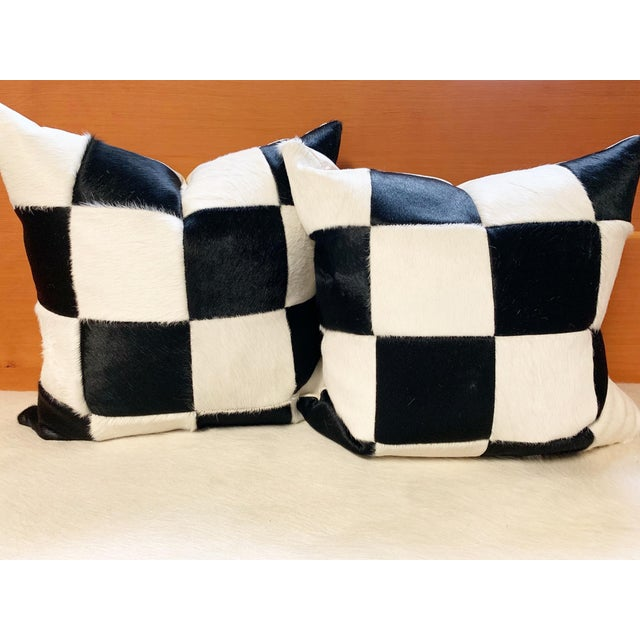 """Black and White Patchwork Cowhide Pillow, 24"""" For Sale In Saint Louis - Image 6 of 8"""