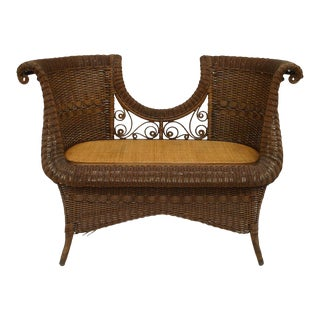 American Victorian Natural Wicker Loveseat For Sale