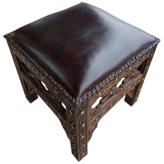 Handmade Moroccan Cedar Wood Stool With Leather Cushion For Sale