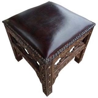 Handmade Moroccan Cedar Wood Stool With Leather Cushion