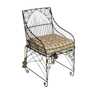 Palecek Victorian Style Metal Wire Armchair For Sale
