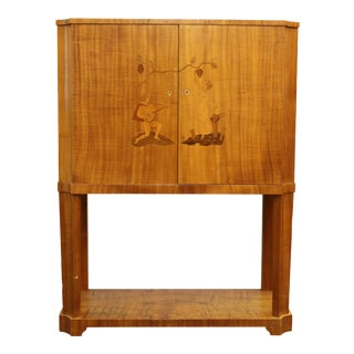 Early 20th Century Mjolby Instarsia Swedish Art Deco Dry Bar For Sale