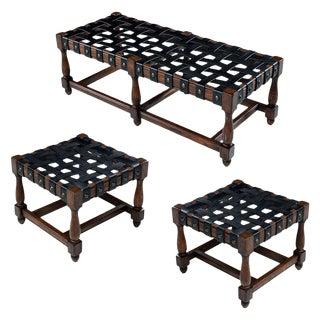 Vintage Black Leather Strap Gothic Revival Style Solid Oak Bench & Ottomans Set For Sale