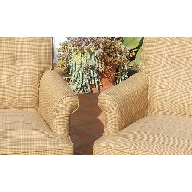 This is a pair of Mitchel Gold for Bob Williams arm chairs with a tan and gray plaid, very neutral fabric. The tags are...