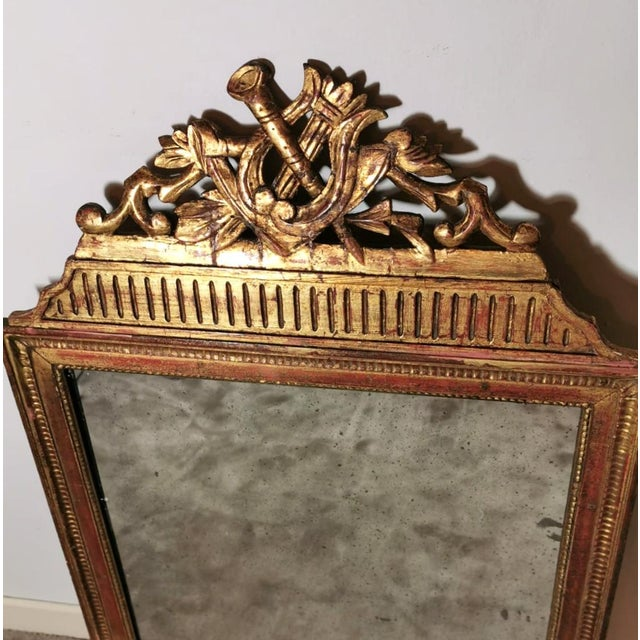 French 1750 French Louis XVI Gold Leaf Wood Mirror For Sale - Image 3 of 13