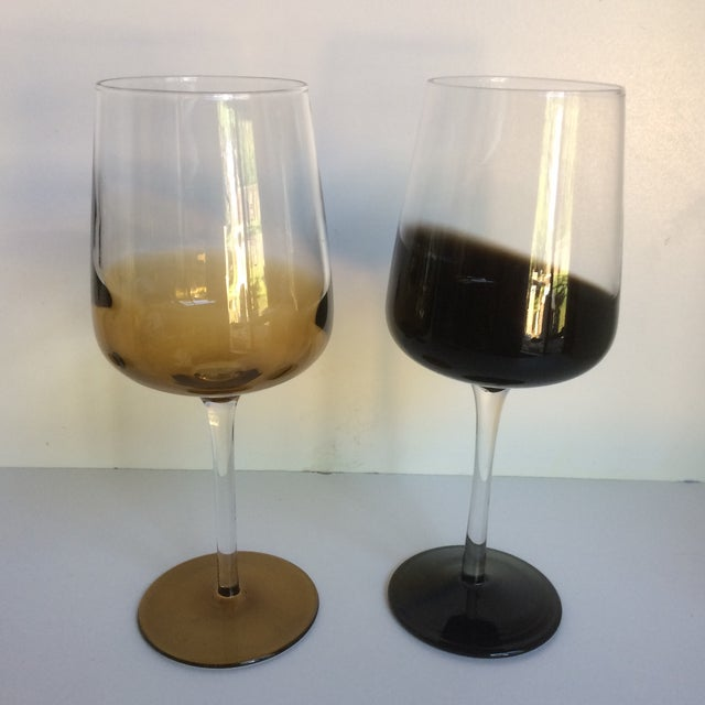 Boho Chic Mid-Century Modern Style Reverse Ombré Black & Amber Brown Wine Glasses - Set of 6 For Sale - Image 3 of 13