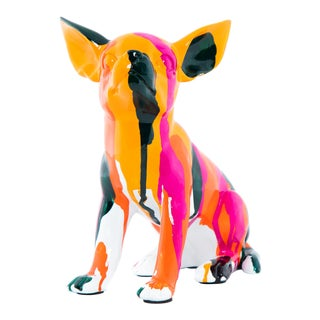 """Interior Illusions Plus Sitting Chihuahua Splatter Art Dog - 7"""" tall For Sale"""