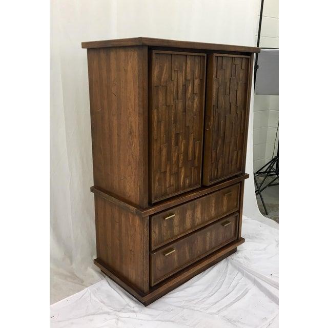 Vintage Mid-Century Brutalist Armoire Dresser - Image 2 of 8