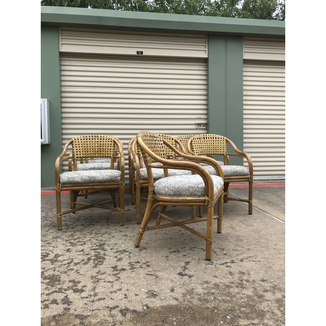1970s 1970s Vintage McGuire Rattan and Leather Dining Chairs- Set of 10 For Sale - Image 5 of 12