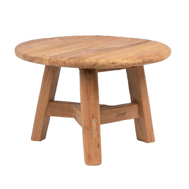 Reclaimed Teak Round Coffee Table For Sale - Image 4 of 4