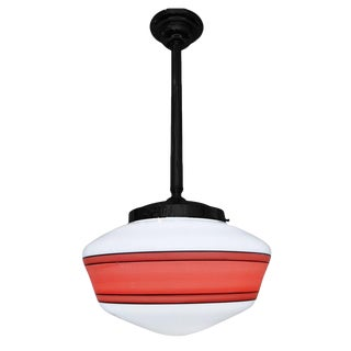 Hand-Painted Schoolhouse Milk Glass Pendant Light With Hardware For Sale