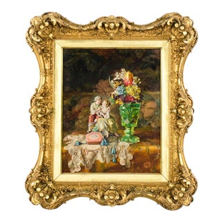 Early 20th Century Vintage Still Life Oil Painting by Lea Reinhart For Sale