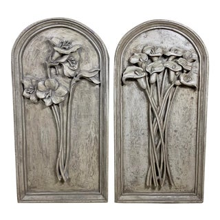 1980s Carved Gray Wall Hangings - a Pair For Sale