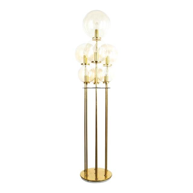 Glashütte Limburg Brass Glass Floor Lamp, Germany 1960 For Sale