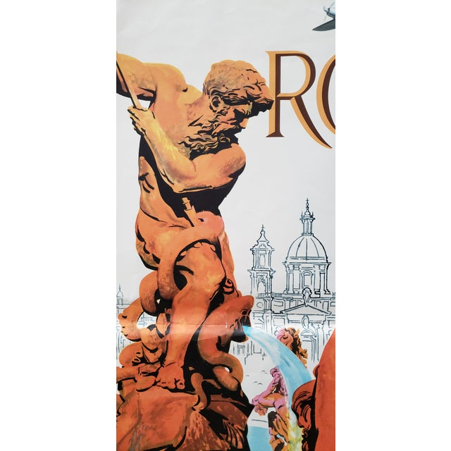 Paper Original Vintage Travel Poster Rome via Twa Trans World Airlines C.1960s For Sale - Image 7 of 10