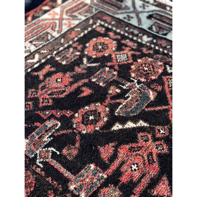 "70-Years-Old Persian Hamadan Runner - 3'4"" x 10'2"" For Sale - Image 10 of 11"