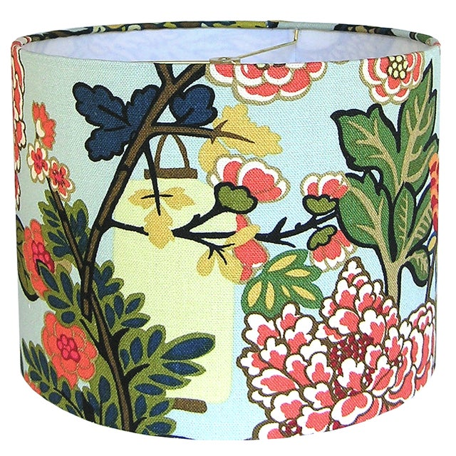 Custom Aqua Floral Lantern Drum Lamp Shade For Sale - Image 4 of 5