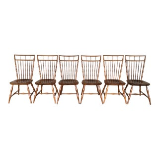 Nichols & Stone Maple Birdcage Style Windsor Side Chairs - Set of 6