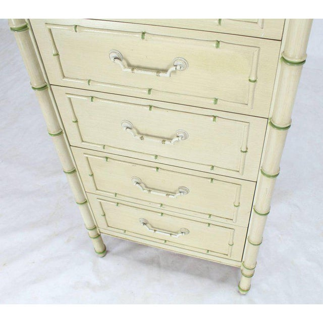 Thomasville Tall Faux Bamboo Decorated Seven Drawers Lingerie High Chest Dresser For Sale - Image 4 of 9