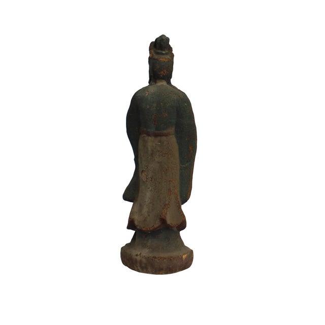 Chinese Rustic Distressed Finish Wood Kwan Yin Bodhisattva Statue For Sale - Image 4 of 6