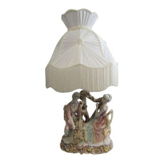 Capodimonte Style Italy Porcelain Figure Lamp With Shade For Sale