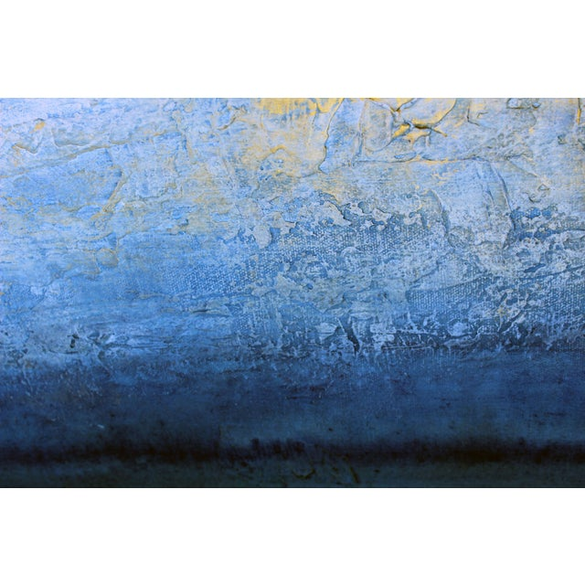 Blue & White Textured Modern Abstract Painting - Image 5 of 6