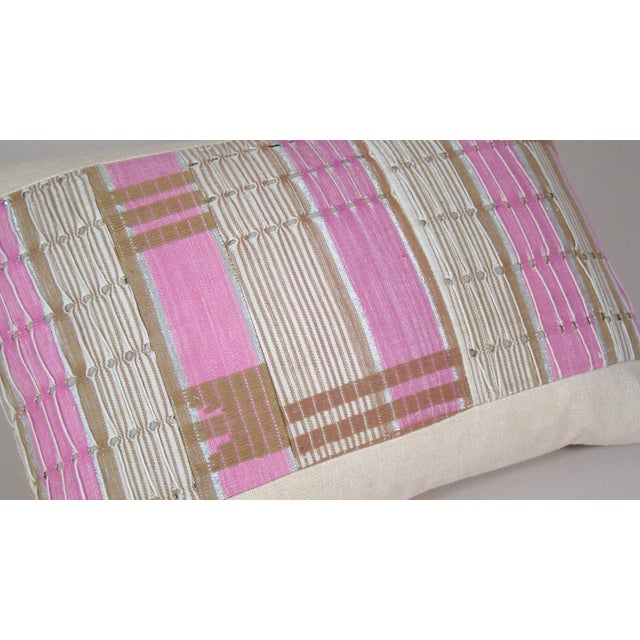 2010s African Boho Chic Handwoven Aso Oke Khaki and Pink Cotton Pillow Cover For Sale - Image 5 of 11