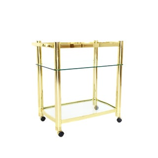Hollywood Regency Brass 3 Tiered Bar Cart For Sale
