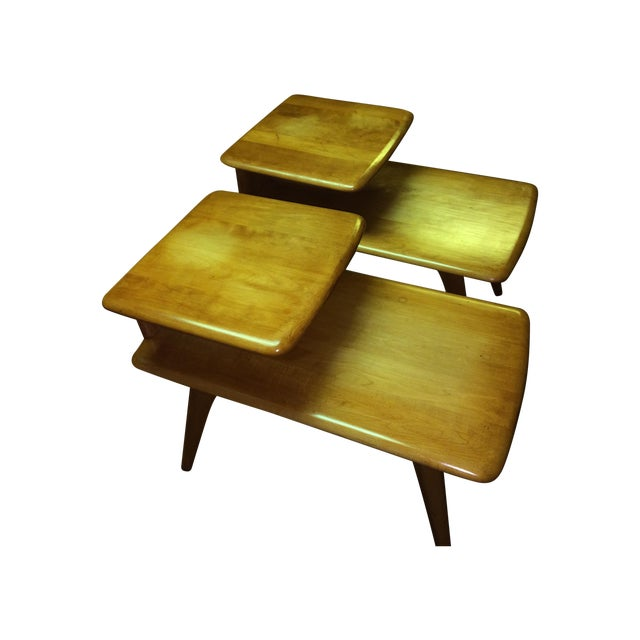 2 Heywood Wakefield Champagne Two-Tier Lamp Tables - Image 1 of 8