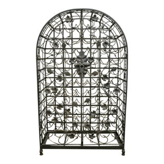 French Style Wrought Iron 75 Wine Bottle Holder Stand With Doors For Sale