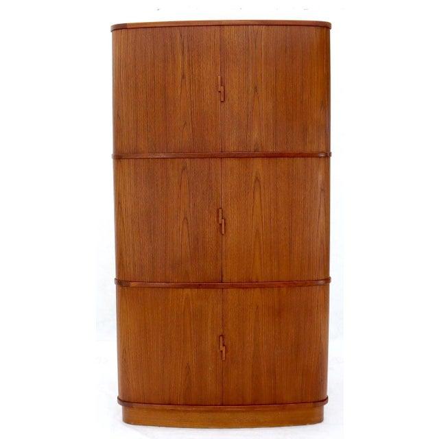 Rare Large Tambour Door Danish Modern Teak Corner Cabinet For Sale - Image 4 of 13