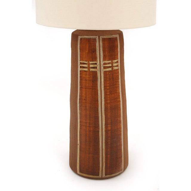 Monumental Glazed Earthenware Lamp For Sale - Image 4 of 5