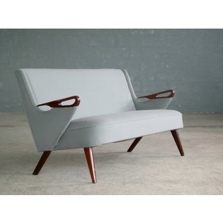 Sven Skipper Attributed 1950s Small Sofa in Wool and Teak Danish, Midcentury Preview