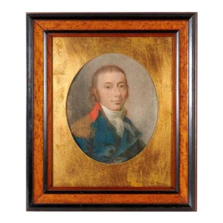 18th Century British School Military Portrait Drawing, Framed For Sale