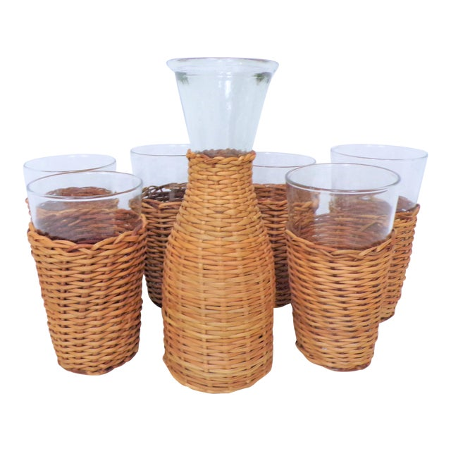 Vintage Rattan Wine Carafe and Glasses - Set of 7 For Sale