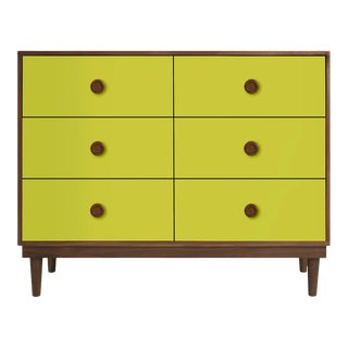 Lukka Modern Kids 6-Drawer Dresser in Walnut With Green Finish For Sale