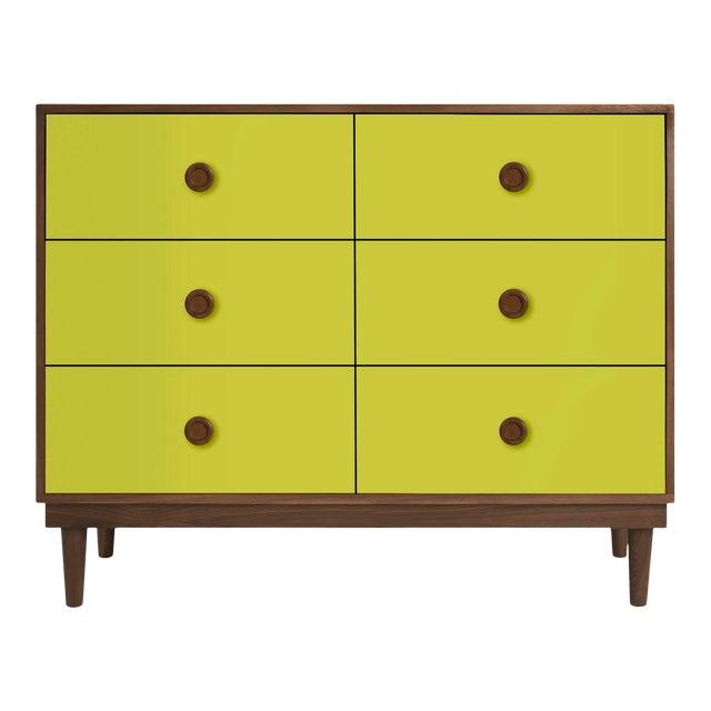 Lukka Modern Kids 6-Drawer Dresser in Walnut With Green Finish For Sale