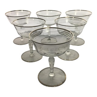Vintage Optic Glass Coupes With Platinum Silver Trim - Set of 6