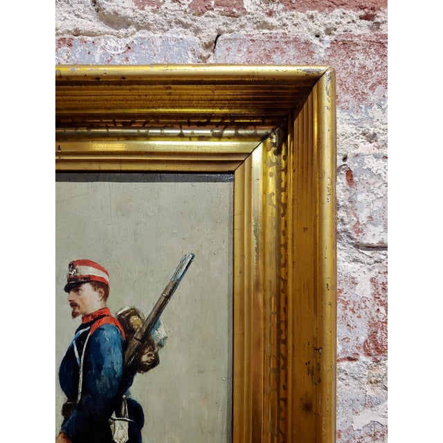 Canvas Edouard Jean Baptiste Detaille -Portrait of a Napoleonic Soldier -Oil Painting C.1870s For Sale - Image 7 of 11