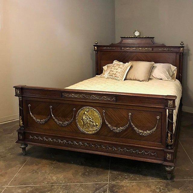 19th Century French Louis XVI Queen Bed With Ormolu For Sale - Image 13 of 13
