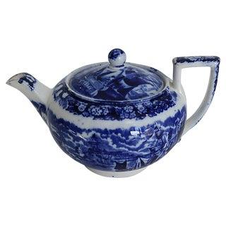 Childs Flow Blue Ferrara Ship Teapot For Sale