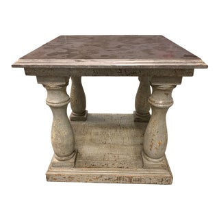 Dovetail Furniture Palermo Distressed Blue Side Table For Sale
