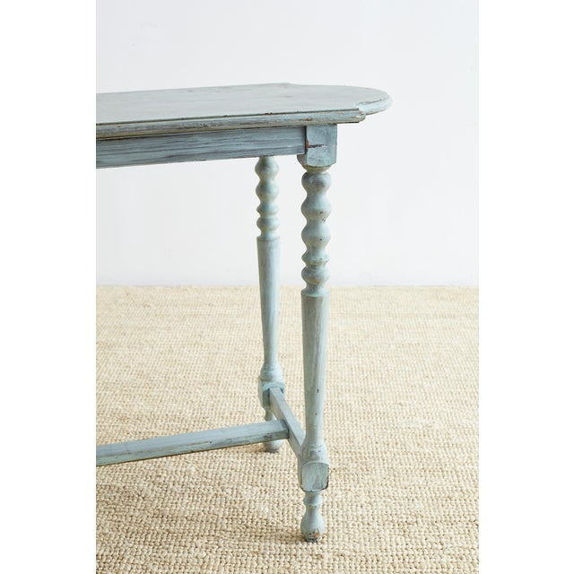 Robin's Egg Blue Painted Console Sofa Table For Sale - Image 11 of 13