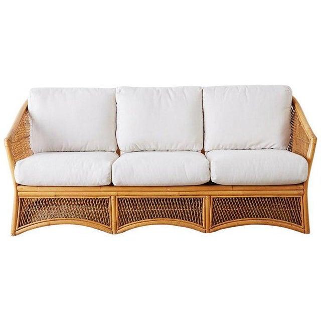 Midcentury Bamboo Rattan Wicker Three-Seat Sofa For Sale - Image 13 of 13