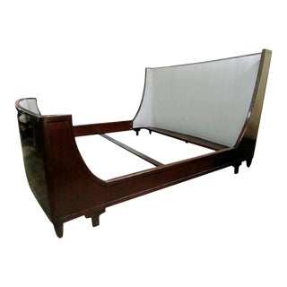 Mid-Century Modern Henredon Furniture Barbara Barry Walnut Upholstered King Bedframe For Sale