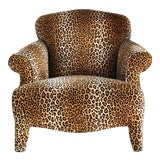 Image of 1980s Hollywood Regency Cheetah Roll Arm Chair For Sale